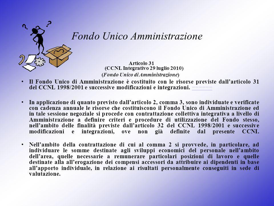 Fondo Unico Amministrazione Articolo 31 (CCNL Integrativo 29 luglio 2010) (Fondo Unico di Amministrazione) Il Fondo Unico di Amministrazione è costitu
