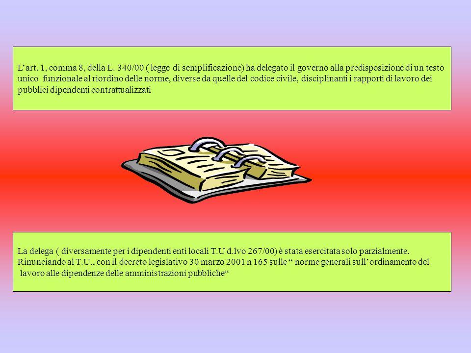 Lart. 1, comma 8, della L. 340/00 ( legge di semplificazione) ha delegato il governo alla predisposizione di un testo unico funzionale al riordino del