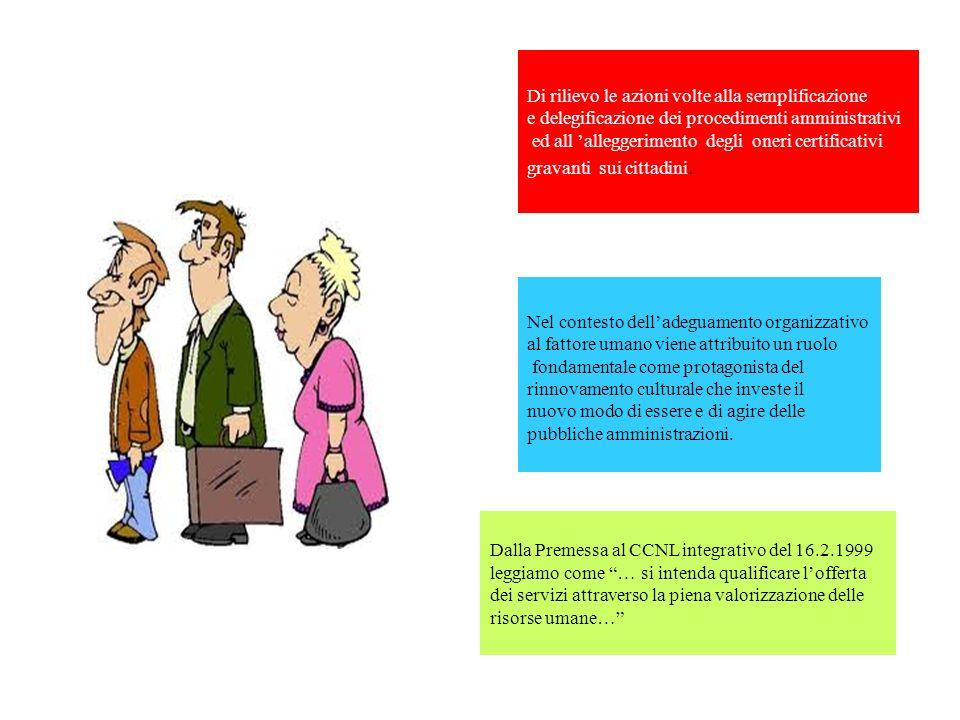 Di rilievo le azioni volte alla semplificazione e delegificazione dei procedimenti amministrativi ed all alleggerimento degli oneri certificativi grav