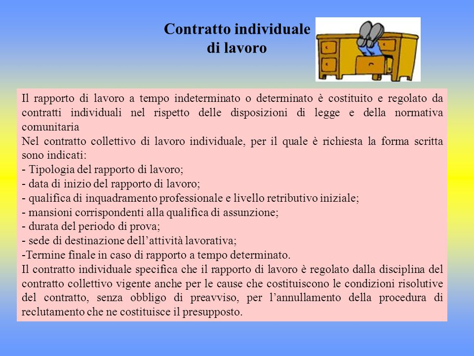 Contratto individuale di lavoro Il rapporto di lavoro a tempo indeterminato o determinato è costituito e regolato da contratti individuali nel rispett