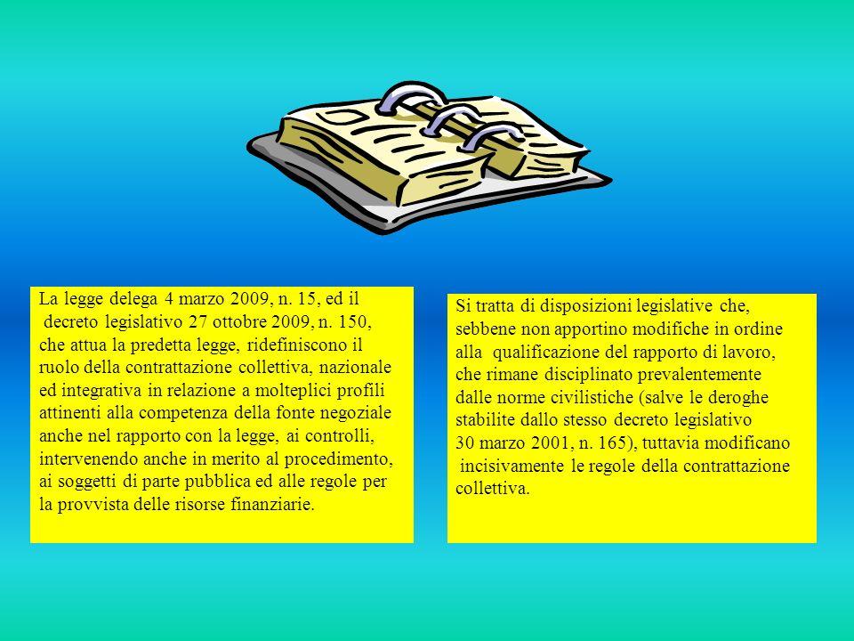 La legge delega 4 marzo 2009, n. 15, ed il decreto legislativo 27 ottobre 2009, n. 150, che attua la predetta legge, ridefiniscono il ruolo della cont