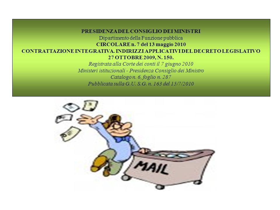 PRESIDENZA DEL CONSIGLIO DEI MINISTRI Dipartimento della Funzione pubblica CIRCOLARE n. 7 del 13 maggio 2010 CONTRATTAZIONE INTEGRATIVA. INDIRIZZI APP