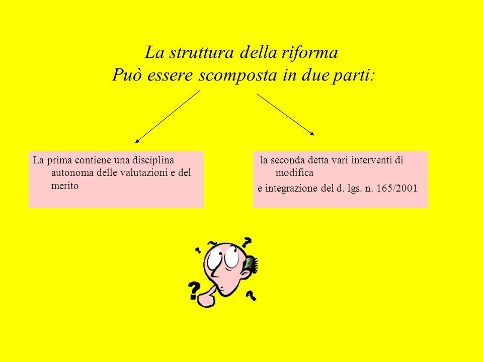 La struttura della riforma Può essere scomposta in due parti: la seconda detta vari interventi di modifica e integrazione del d. lgs. n. 165/2001 La p