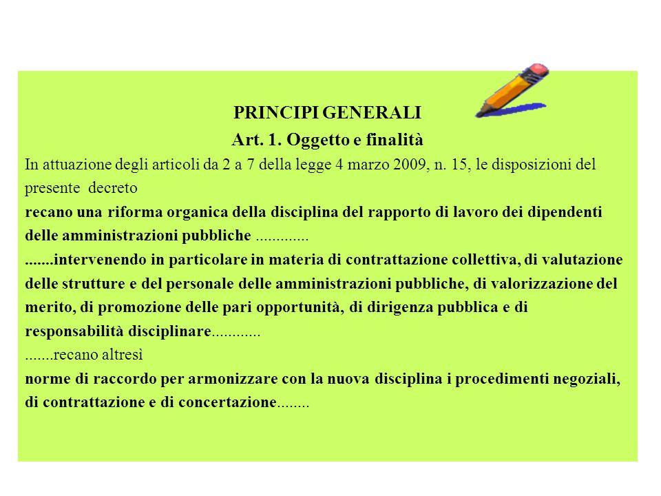 PRINCIPI GENERALI Art. 1. Oggetto e finalità In attuazione degli articoli da 2 a 7 della legge 4 marzo 2009, n. 15, le disposizioni del presente decre