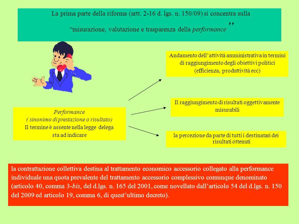 La prima parte della riforma (artt. 2-16 d. lgs. n. 150/09) si concentra sulla misurazione, valutazione e trasparenza della performance Il raggiungime