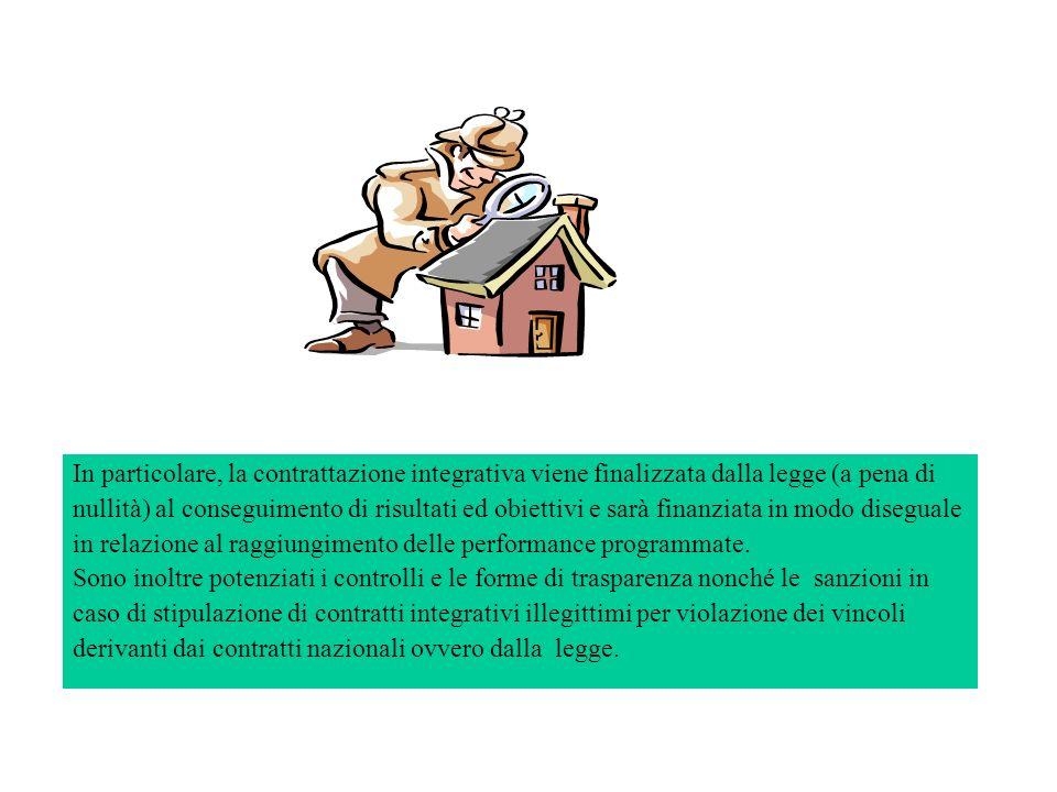 In particolare, la contrattazione integrativa viene finalizzata dalla legge (a pena di nullità) al conseguimento di risultati ed obiettivi e sarà fina