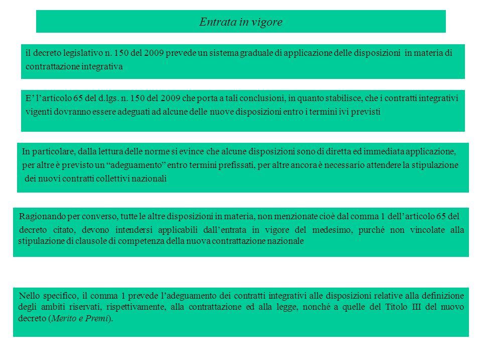 Entrata in vigore il decreto legislativo n. 150 del 2009 prevede un sistema graduale di applicazione delle disposizioni in materia di contrattazione i