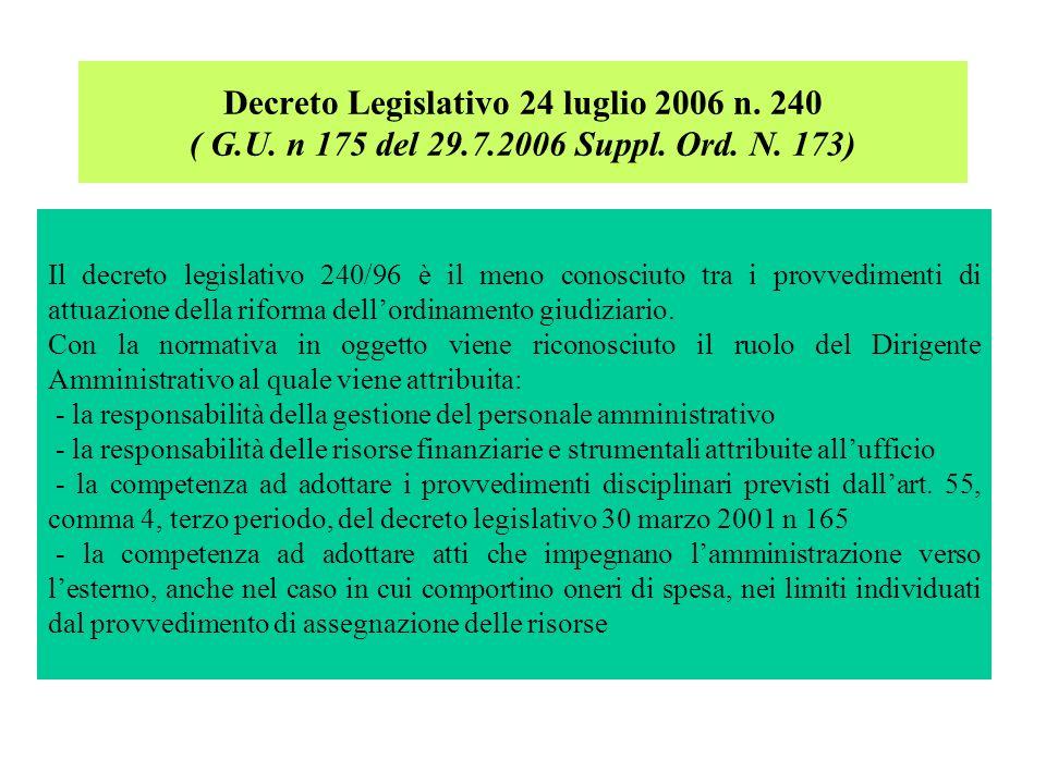 Il decreto legislativo 240/96 è il meno conosciuto tra i provvedimenti di attuazione della riforma dellordinamento giudiziario. Con la normativa in og
