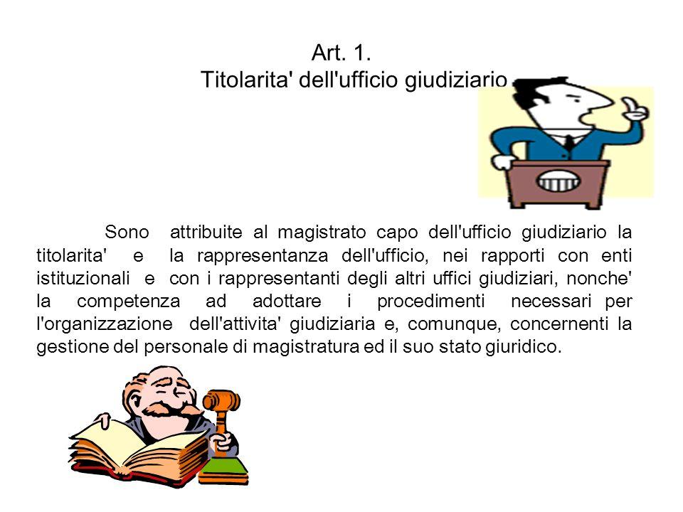 Art. 1. Titolarita' dell'ufficio giudiziario Sono attribuite al magistrato capo dell'ufficio giudiziario la titolarita' e la rappresentanza dell'uffic