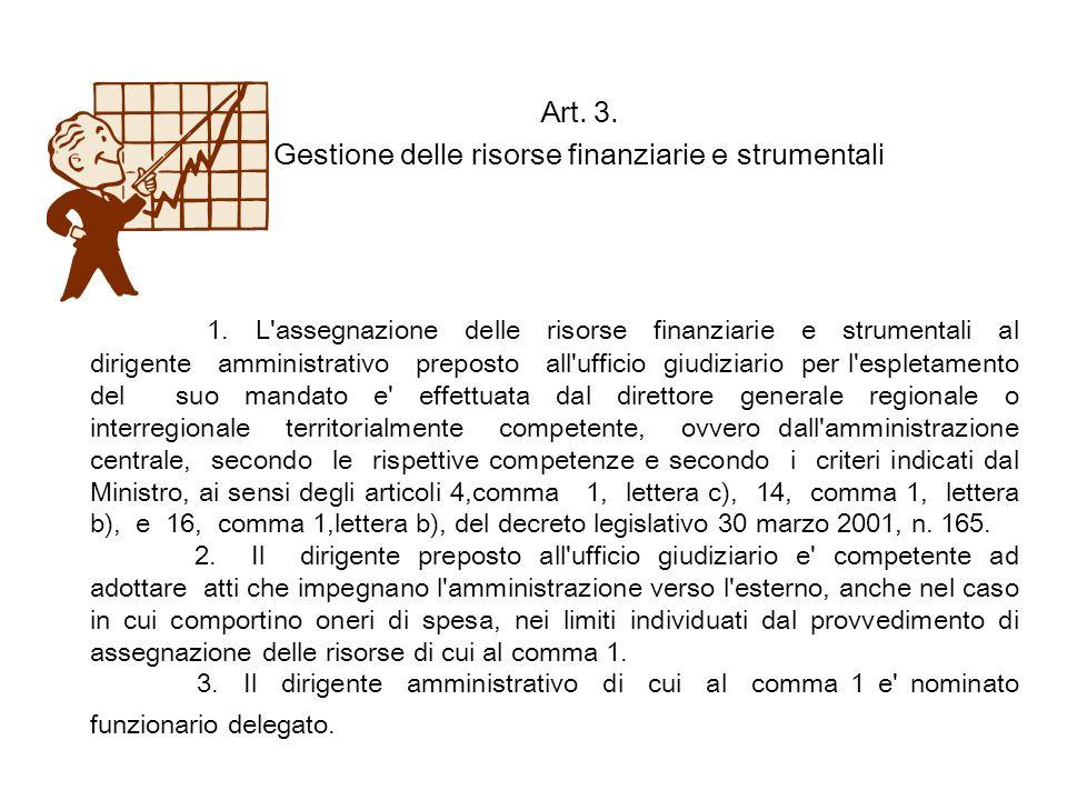 Art. 3. Gestione delle risorse finanziarie e strumentali 1. L'assegnazione delle risorse finanziarie e strumentali al dirigente amministrativo prepost