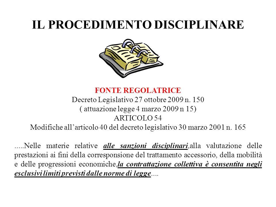 IL PROCEDIMENTO DISCIPLINARE FONTE REGOLATRICE Decreto Legislativo 27 ottobre 2009 n. 150 ( attuazione legge 4 marzo 2009 n 15) ARTICOLO 54 Modifiche
