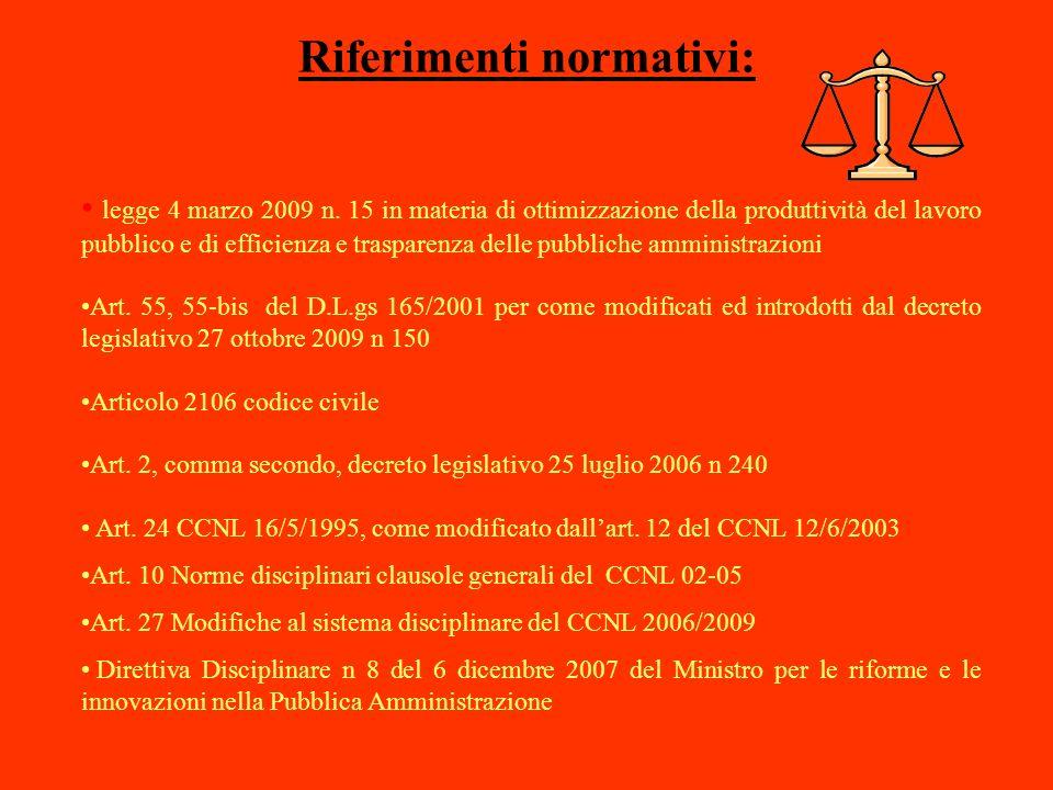 Riferimenti normativi: legge 4 marzo 2009 n. 15 in materia di ottimizzazione della produttività del lavoro pubblico e di efficienza e trasparenza dell