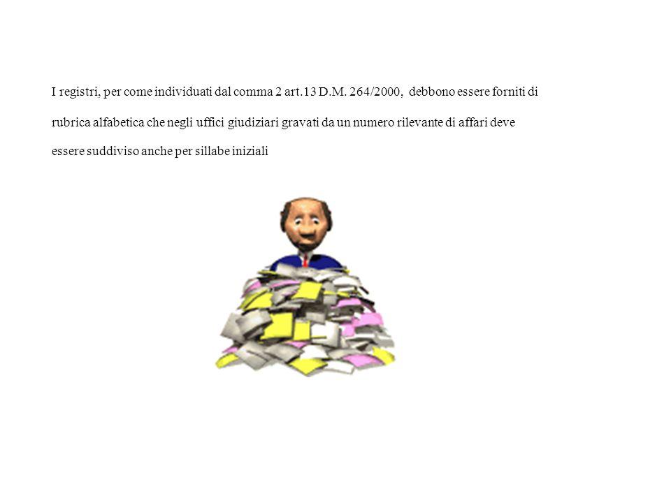 I registri, per come individuati dal comma 2 art.13 D.M. 264/2000, debbono essere forniti di rubrica alfabetica che negli uffici giudiziari gravati da