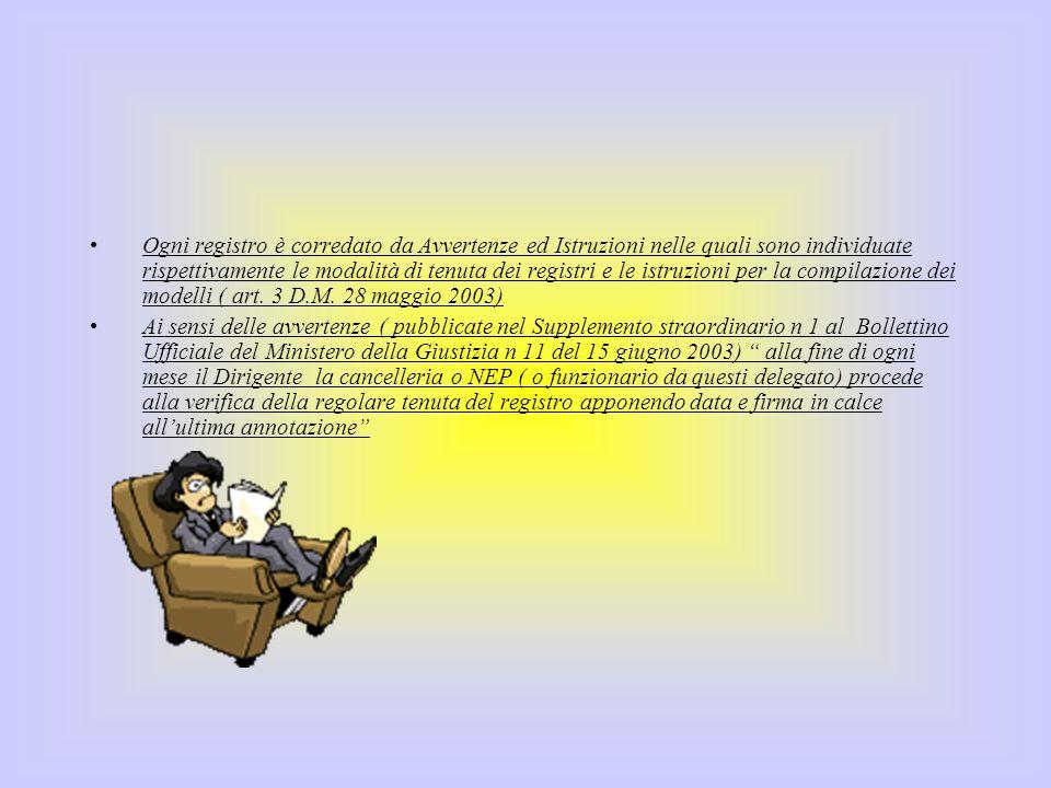 Ogni registro è corredato da Avvertenze ed Istruzioni nelle quali sono individuate rispettivamente le modalità di tenuta dei registri e le istruzioni