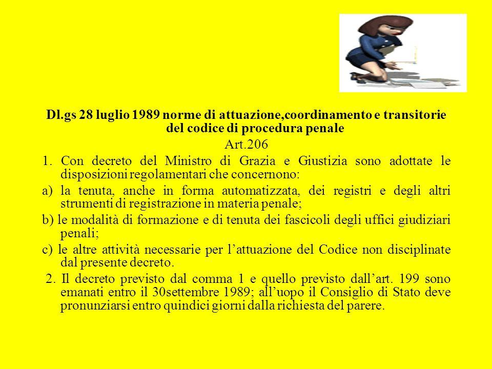 Dl.gs 28 luglio 1989 norme di attuazione,coordinamento e transitorie del codice di procedura penale Art.206 1. Con decreto del Ministro di Grazia e Gi