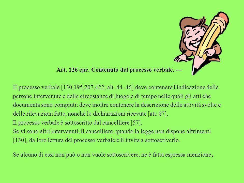 Art. 126 cpc. Contenuto del processo verbale. II processo verbale [130,195,207,422; alt. 44. 46] deve contenere l'indicazione delle persone intervenut