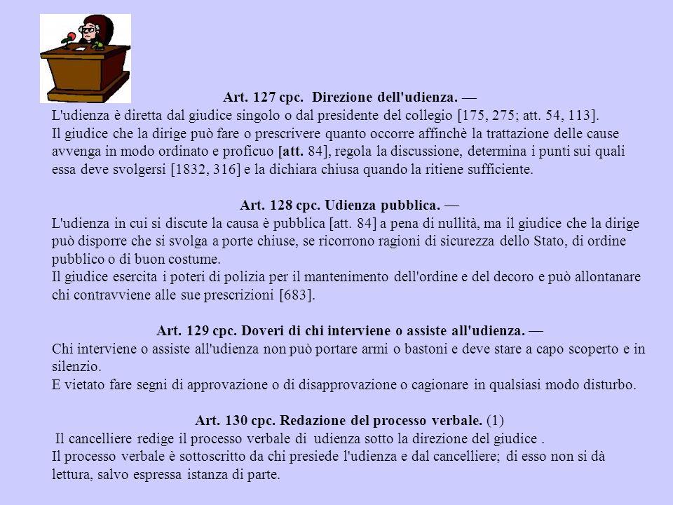 Art.127 cpc. Direzione dell udienza.