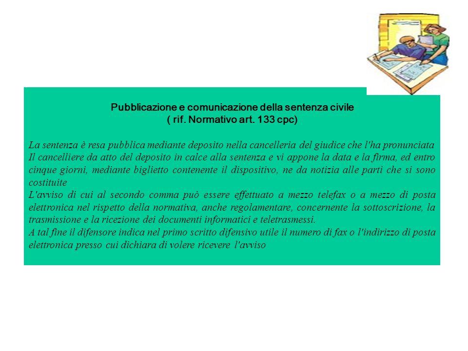 Pubblicazione e comunicazione della sentenza civile ( rif.