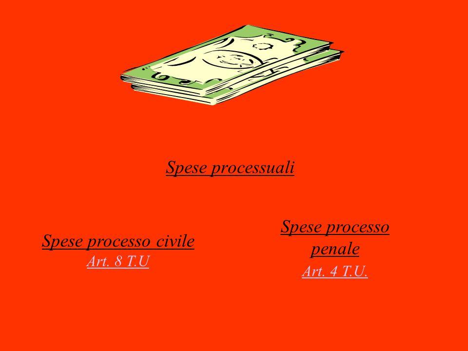 Spese processuali Spese processo civile Art. 8 T.U Art. 8 T.U Spese processo penale Art. 4 T.U. Art. 4 T.U.