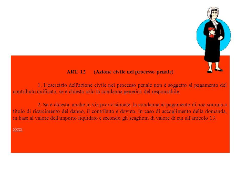 ART. 12 (Azione civile nel processo penale) 1. L'esercizio dell'azione civile nel processo penale non è soggetto al pagamento del contributo unificato