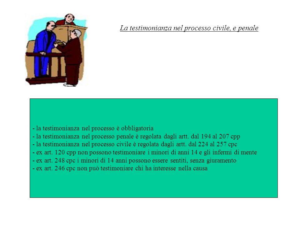La testimonianza nel processo civile, e penale - la testimonianza nel processo è obbligatoria - la testimonianza nel processo penale è regolata dagli artt.