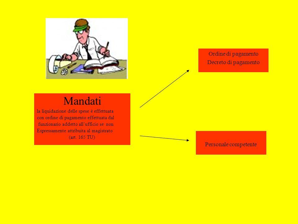 Mandati la liquidazione delle spese è effettuata con ordine di pagamento effettuata dal funzionario addetto allufficio se non Espressamente attribuita al magistrato (art.
