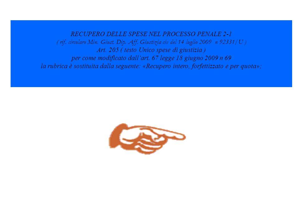 RECUPERO DELLE SPESE NEL PROCESSO PENALE 2-1 ( rif. circolare Min. Giust. Dip. Aff. Giustizia civ del 14 luglio 2009 n 92331/U ) Art. 205 ( testo Unic