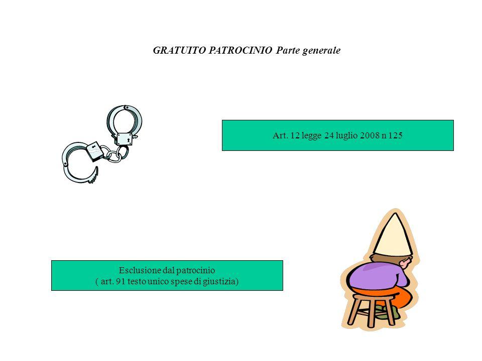 Art. 12 legge 24 luglio 2008 n 125 GRATUITO PATROCINIO Parte generale Esclusione dal patrocinio ( art. 91 testo unico spese di giustizia)