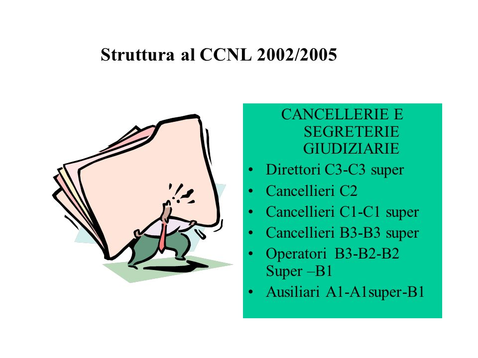 Struttura al CCNL 2002/2005 CANCELLERIE E SEGRETERIE GIUDIZIARIE Direttori C3-C3 super Cancellieri C2 Cancellieri C1-C1 super Cancellieri B3-B3 super
