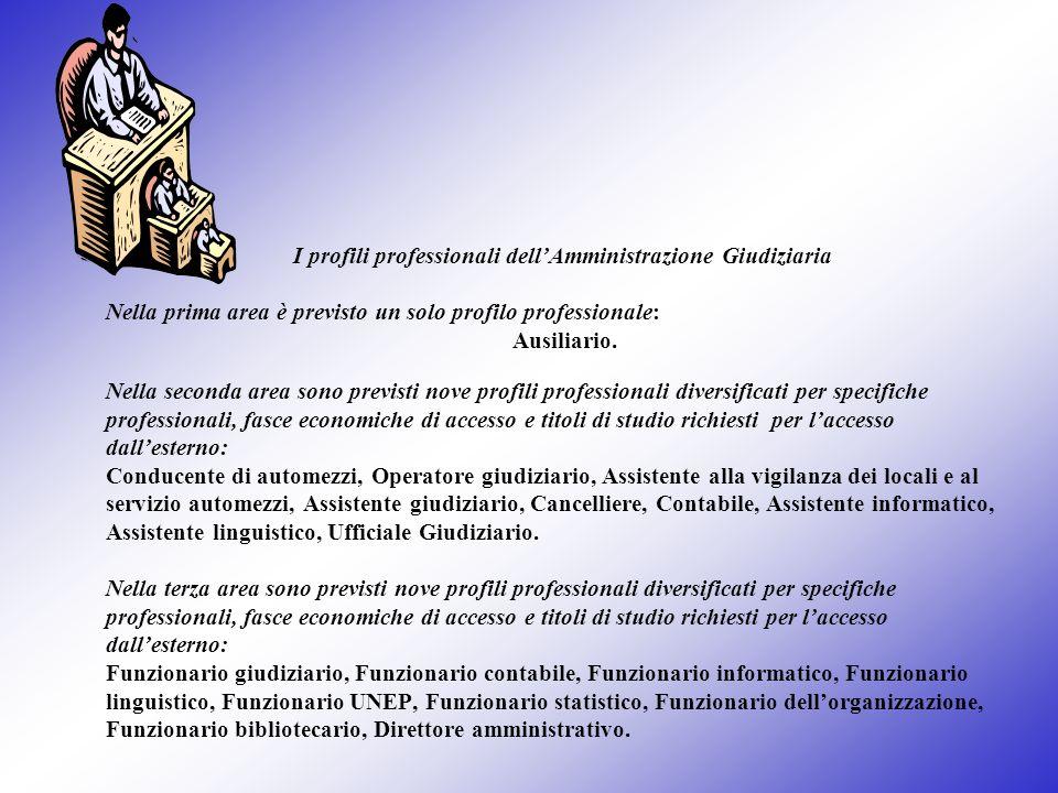 I profili professionali dellAmministrazione Giudiziaria Nella prima area è previsto un solo profilo professionale: Ausiliario. Nella seconda area sono