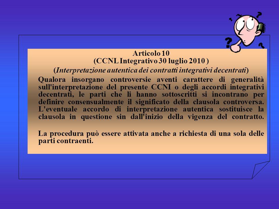 Articolo 10 (CCNL Integrativo 30 luglio 2010 ) (Interpretazione autentica dei contratti integrativi decentrati) Qualora insorgano controversie aventi carattere di generalità sull interpretazione del presente CCNI o degli accordi integrativi decentrati, le parti che li hanno sottoscritti si incontrano per definire consensualmente il significato della clausola controversa.