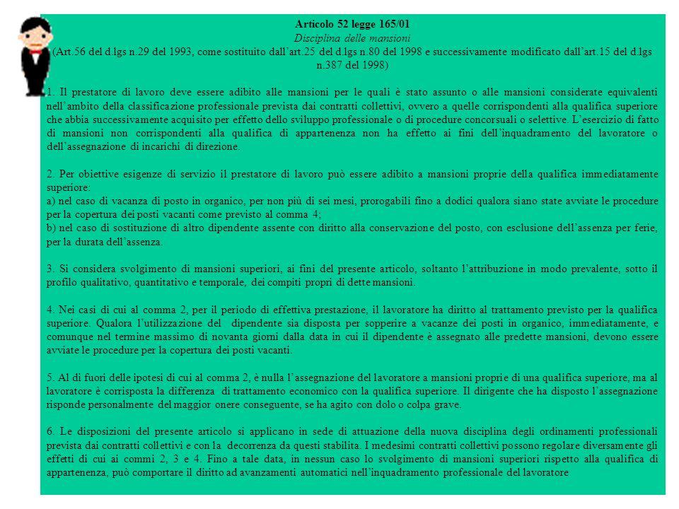 Articolo 52 legge 165/01 Disciplina delle mansioni (Art.56 del d.lgs n.29 del 1993, come sostituito dallart.25 del d.lgs n.80 del 1998 e successivamente modificato dallart.15 del d.lgs n.387 del 1998) 1.