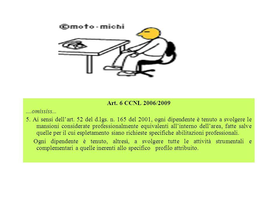 Art. 6 CCNL 2006/2009....omississ... 5. Ai sensi dellart. 52 del d.lgs. n. 165 del 2001, ogni dipendente è tenuto a svolgere le mansioni considerate p