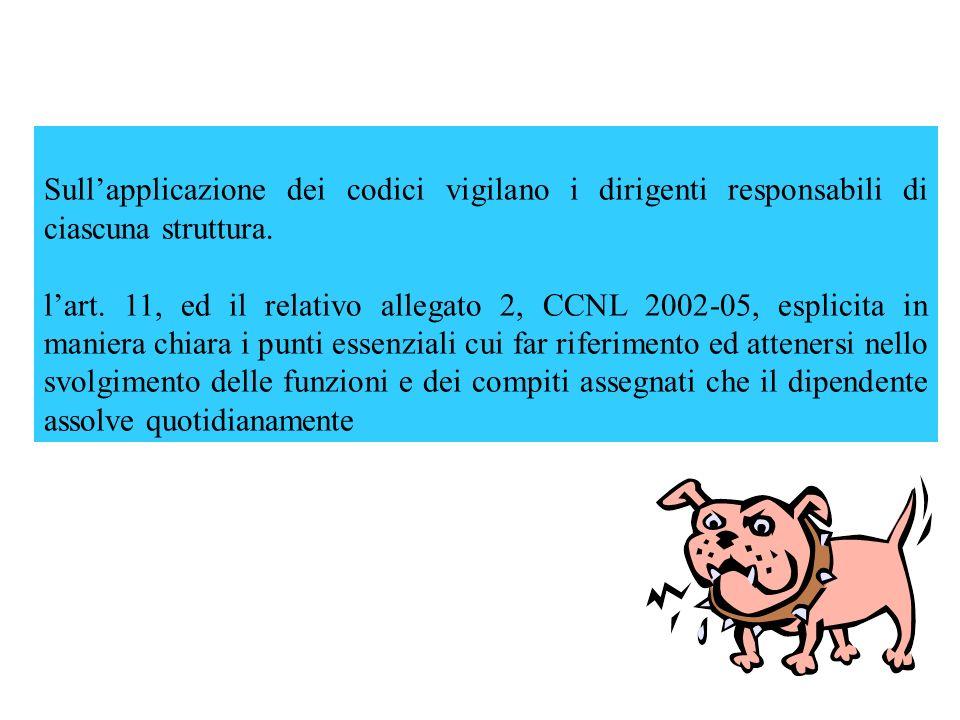 Sullapplicazione dei codici vigilano i dirigenti responsabili di ciascuna struttura. lart. 11, ed il relativo allegato 2, CCNL 2002-05, esplicita in m