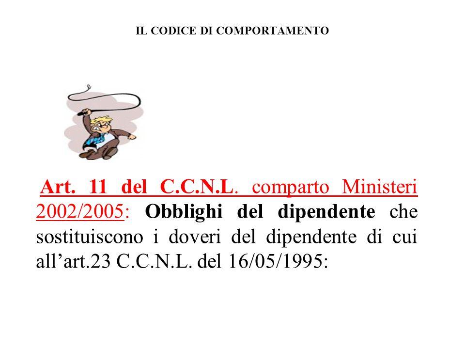 IL CODICE DI COMPORTAMENTO Art.11 del C.C.N.L.