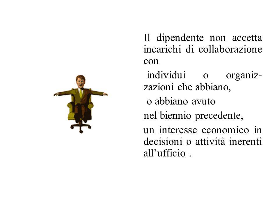 Il dipendente non accetta incarichi di collaborazione con individui o organiz- zazioni che abbiano, o abbiano avuto nel biennio precedente, un interesse economico in decisioni o attività inerenti allufficio.