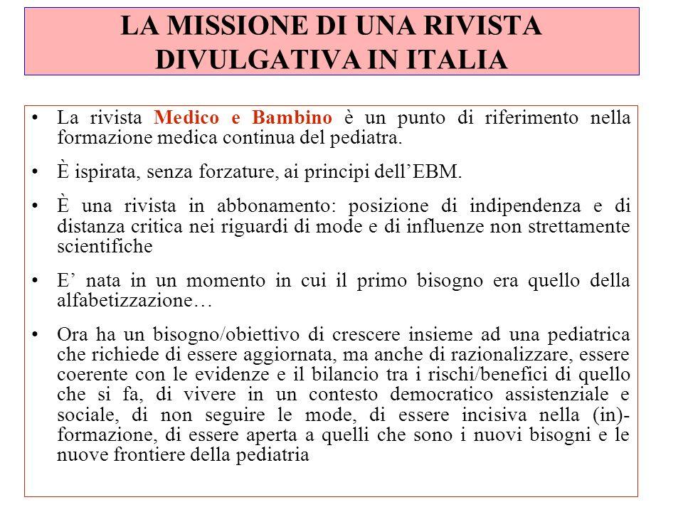 LA MISSIONE DI UNA RIVISTA DIVULGATIVA IN ITALIA La rivista Medico e Bambino è un punto di riferimento nella formazione medica continua del pediatra.