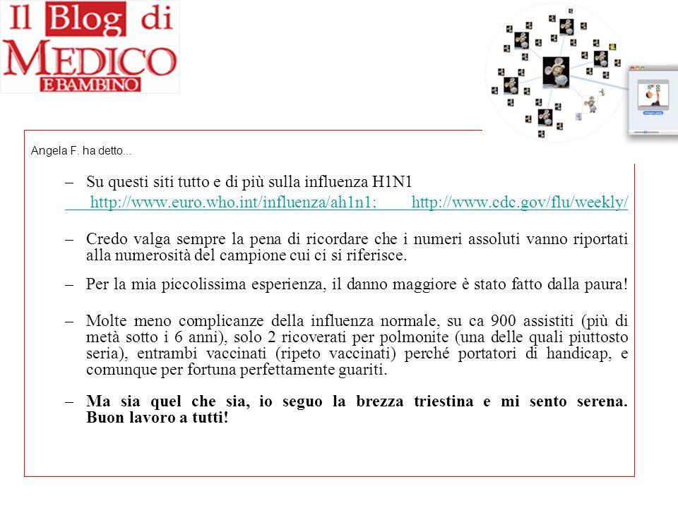 Angela F. ha detto... –Su questi siti tutto e di più sulla influenza H1N1 http://www.euro.who.int/influenza/ah1n1; http://www.cdc.gov/flu/weekly/ –Cre