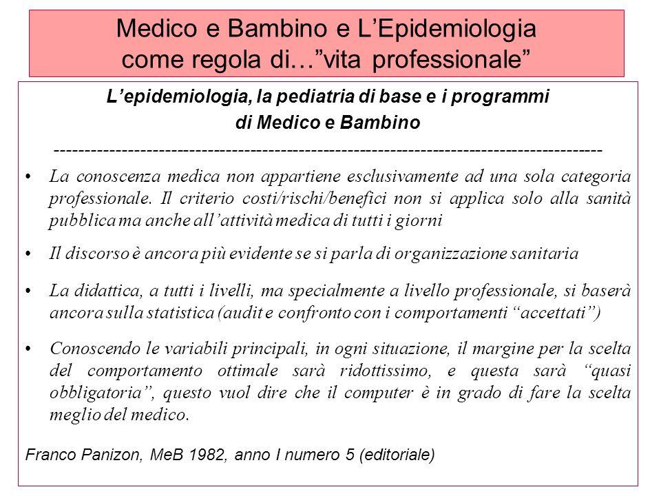 Medico e Bambino e LEpidemiologia come regola di…vita professionale Lepidemiologia, la pediatria di base e i programmi di Medico e Bambino ------------------------------------------------------------------------------------------ La conoscenza medica non appartiene esclusivamente ad una sola categoria professionale.