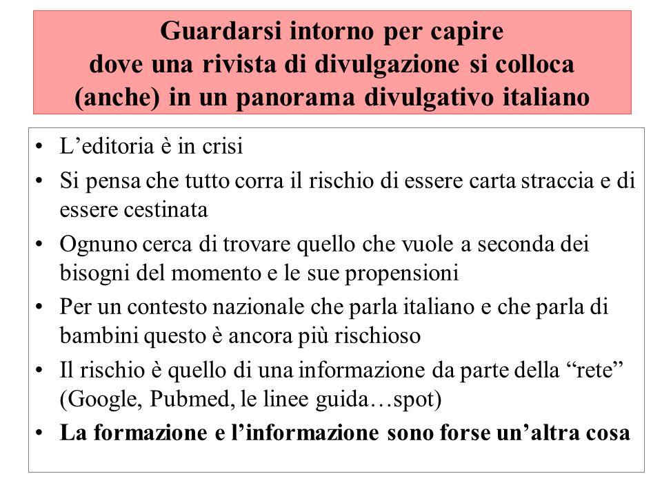 Guardarsi intorno per capire dove una rivista di divulgazione si colloca (anche) in un panorama divulgativo italiano Leditoria è in crisi Si pensa che