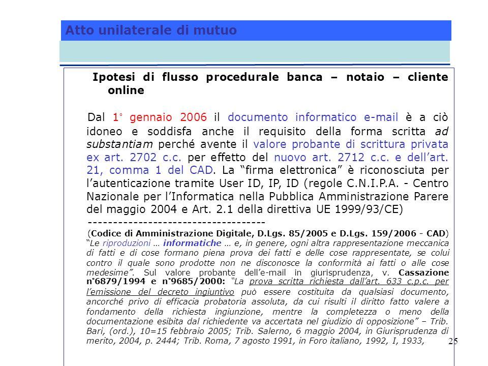 25 Atto unilaterale di mutuo Ipotesi di flusso procedurale banca – notaio – cliente online Dal 1° gennaio 2006 il documento informatico e-mail è a ciò