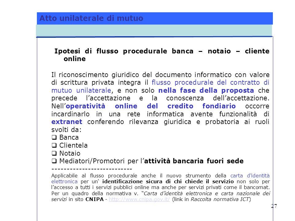 27 Atto unilaterale di mutuo Ipotesi di flusso procedurale banca – notaio – cliente online Il riconoscimento giuridico del documento informatico con v
