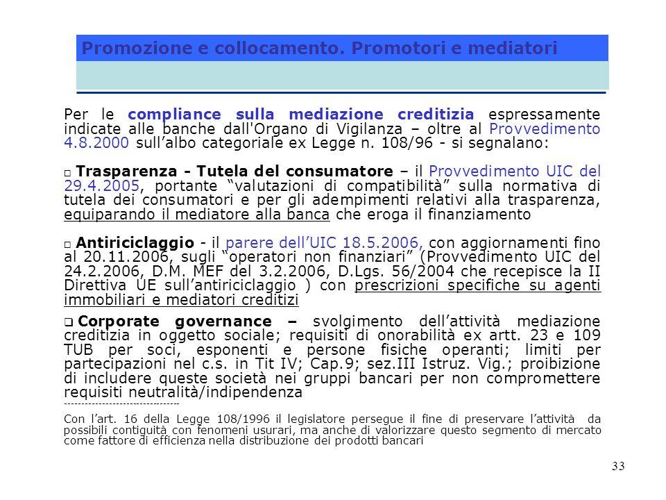 33 Per le compliance sulla mediazione creditizia espressamente indicate alle banche dall'Organo di Vigilanza – oltre al Provvedimento 4.8.2000 sullalb