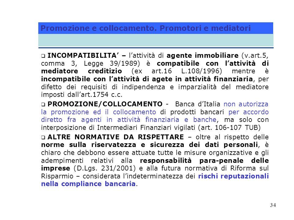 34 INCOMPATIBILITA – lattività di agente immobiliare (v.art.5, comma 3, Legge 39/1989) è compatibile con lattività di mediatore creditizio (ex art.16