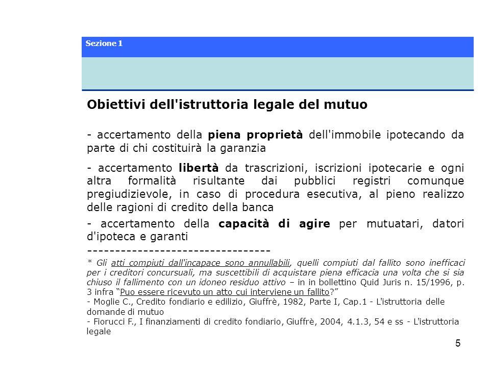 6 Obiettivi dell istruttoria legale del mutuo Società: accertamento sui poteri di rappresentanza e di gestione in capo ai legali rappresentanti delle società, anche alla luce della riforma del diritto societario ------------------------------------------------ * La riforma del diritto societario.