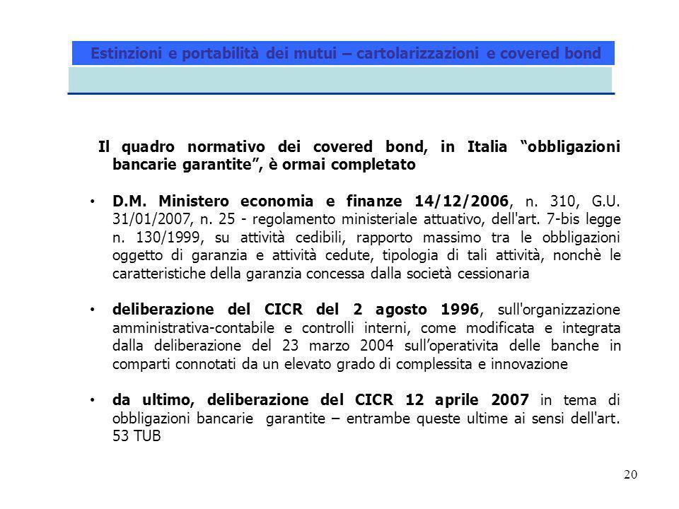 20 Il quadro normativo dei covered bond, in Italia obbligazioni bancarie garantite, è ormai completato D.M. Ministero economia e finanze 14/12/2006, n