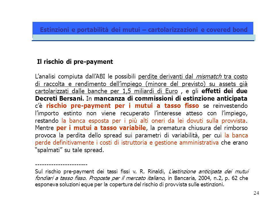 24 Il rischio di pre-payment Lanalisi compiuta dallABI le possibili perdite derivanti dal mismatch tra costo di raccolta e rendimento dellimpiego (min