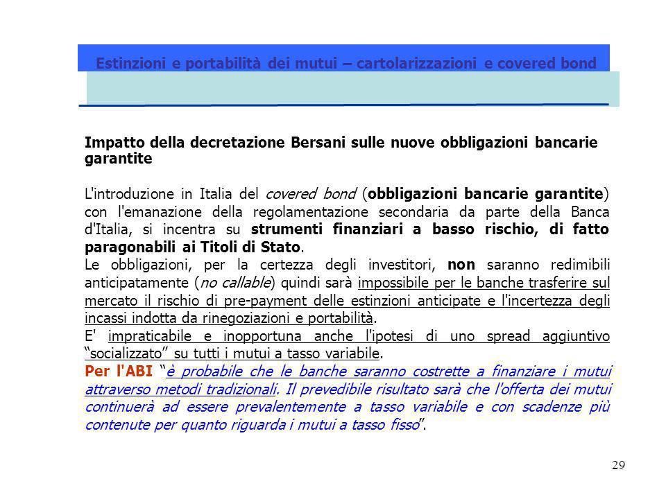 29 Estinzioni e portabilità dei mutui – cartolarizzazioni e covered bond Impatto della decretazione Bersani sulle nuove obbligazioni bancarie garantit