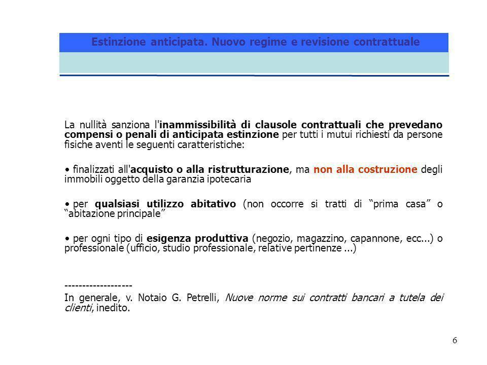 6 La nullità sanziona l'inammissibilità di clausole contrattuali che prevedano compensi o penali di anticipata estinzione per tutti i mutui richiesti