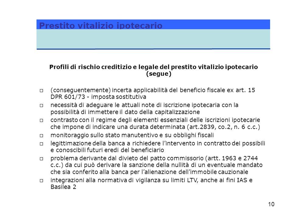 10 Profili di rischio creditizio e legale del prestito vitalizio ipotecario (segue) o (conseguentemente) incerta applicabilità del beneficio fiscale e